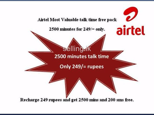 Airtel 2500 minutes pack for 249/= only