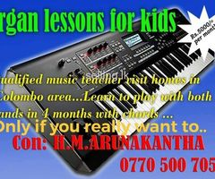 Tuition lessons in organ .music for kids