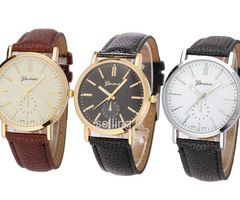 Mens Retro Design Leather Stainless Steel Analog Quartz Wrist Watch