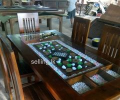 Teak dining table with 6 chair.