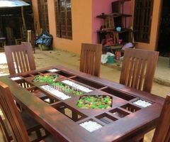 teak table with 6 chairs