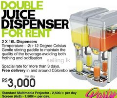 Double Juice Dispenser for Rent in Colombo, Sri Lanka by Rent Stuffs - Maharagama