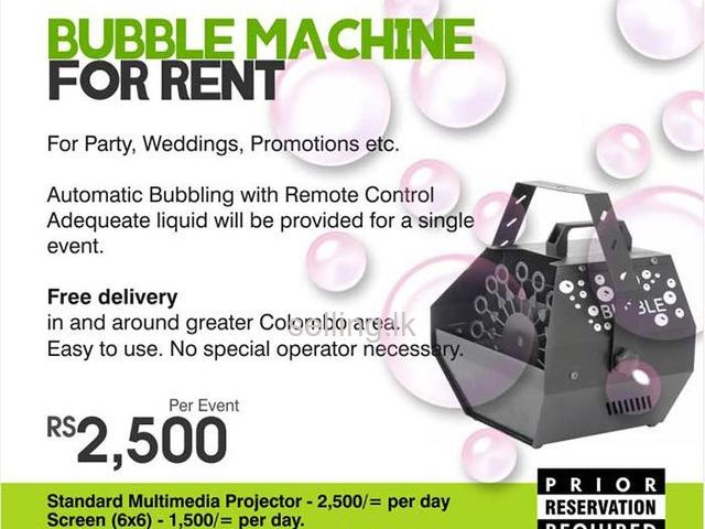 Bubble Machines for Rent in Colombo, Sri Lanka by Rent Stuffs - Maharagama