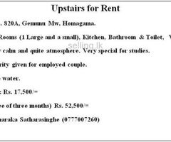 Upstairs for Rent - Homagama