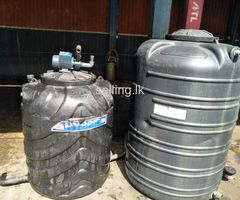 2 Water Tanks and Water Motor for Sale