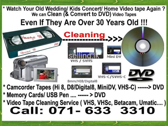 vhs video deck cassette tapes Cleaning and to dvd / blueray recording in nugegoda colombo sri lanka