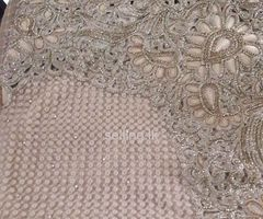 Brand New Valuable Wedding Saree for Sale (Biscuit Colour, Stones attached)