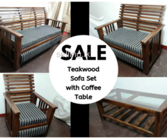 Teakwood Sofa Set with Coffee Table for Sale