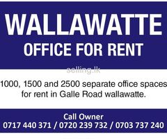 Office space for rent in wellawatte, Galle road