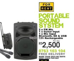 Sound System (High) with 2 FM Microphones for Rent.