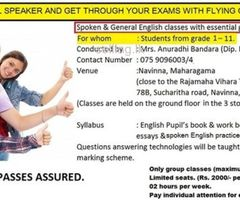 Spoken and General English classes for kids and school children.