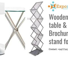 Glass top, Wooden top table, Brochure stand, Expo Furniture for rent