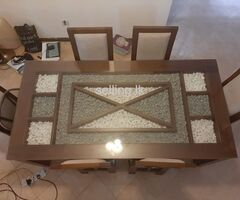 L shape sof and glass top dining table