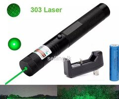 Green Laser Pointer 8Km Powerful focus 532nm 303 Adjustable Focus with Battery Charger & Keys in