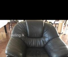Genuine leather 3+1 sofa