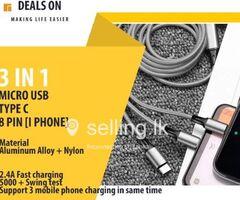 3 in 1 - Micro USB | Type C | 8 Pin [I phone]