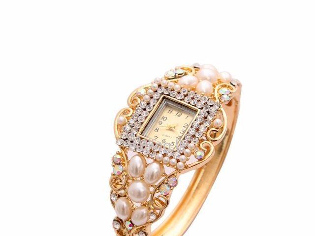 Women Wristwatch Imitation Pearl Wrist Dress Quartz Watch